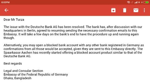 German Embassy Dhaka Blocked account confirmation